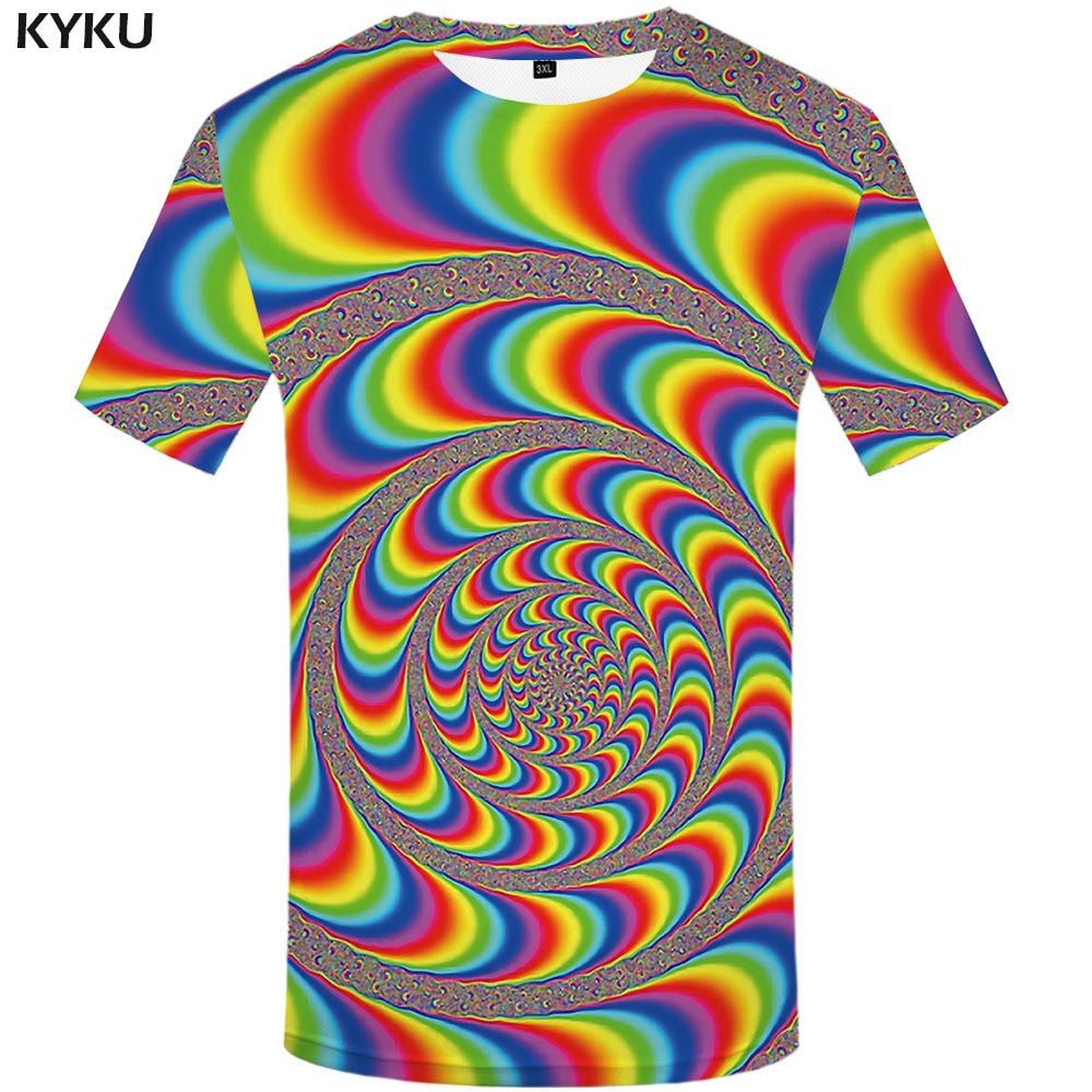 KYKU Psychedelic T shirt Men Dizziness Funny shirts Rainbow T-shirts 3d Colorful Tshirt Printed Gothic Anime Clothes