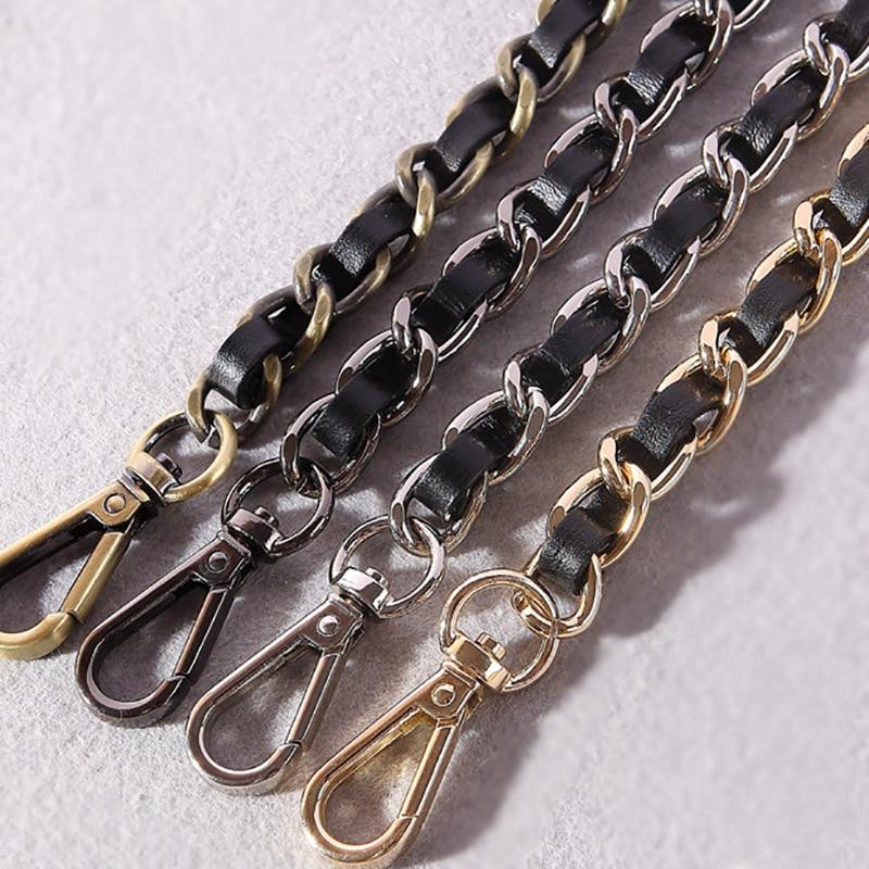 DIY Black PU Leather Purse Handle 11mm Replacement Metal Gold, Silver, Bronze, Gun Black Shoulder Crossbody Bag Chain Straps