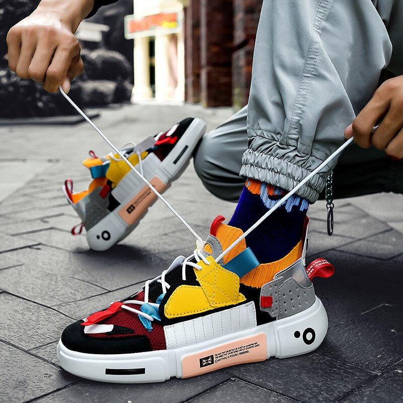Men Mixed Colors Shoes Lace-up Comfortable Sneaker for Male Tenis Masculino Adulto Top Quality Fashi