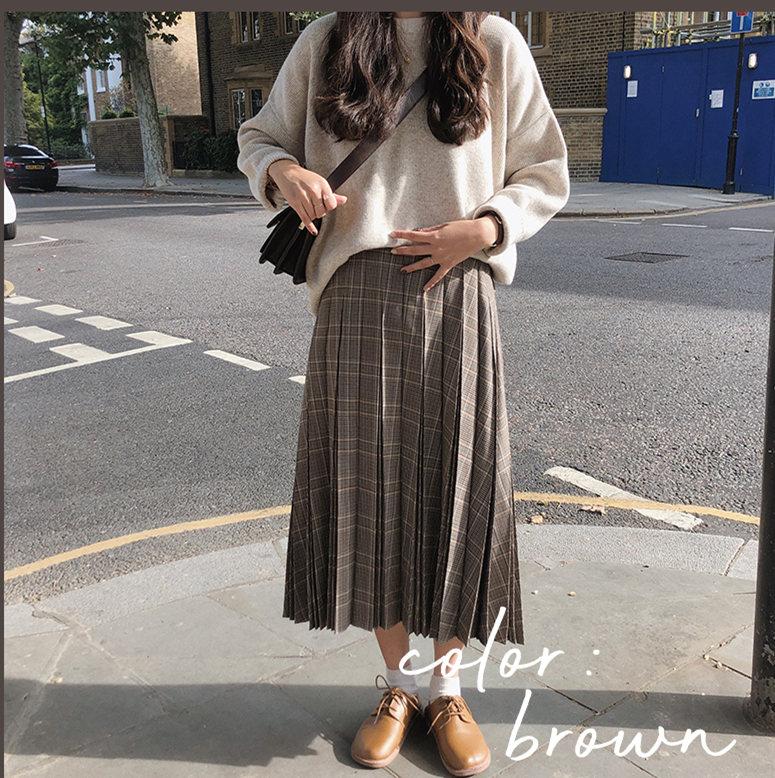 New A Line pleated plaid students Mid Calf Women Skirt Vintage Spring Skirt Long Office Lady High Waist Girls Skirts Autumn