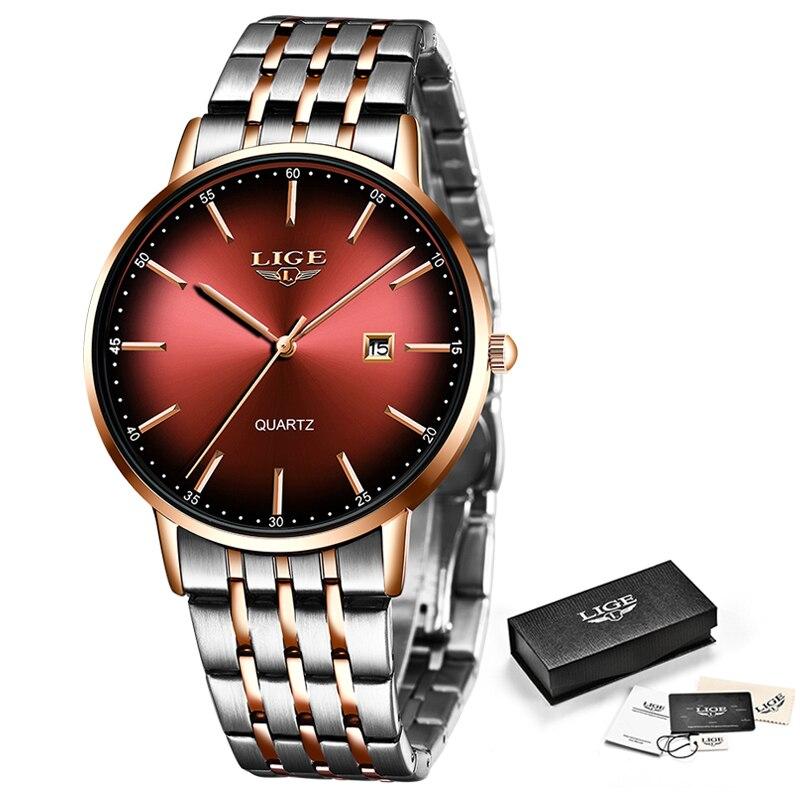 LIGE Fashion Women Watches Women Top Brand Luxury Waterproof Gold Quartz Watch Ladies Stainless Steel Date Wear Gift Clock 2020 enlarge