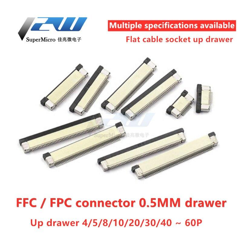 10 unids/lote Conector FPC Conector de 0,5mm/1,0mm Cable plano conectores PCB SMT...