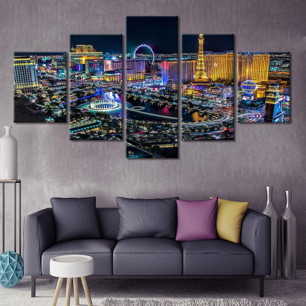 Cuadros de 5 paneles de la noche de Las Vegas, impresión en HD, pintura moderna en lienzo, arte de pared, marco de póster Modular, decoración del hogar