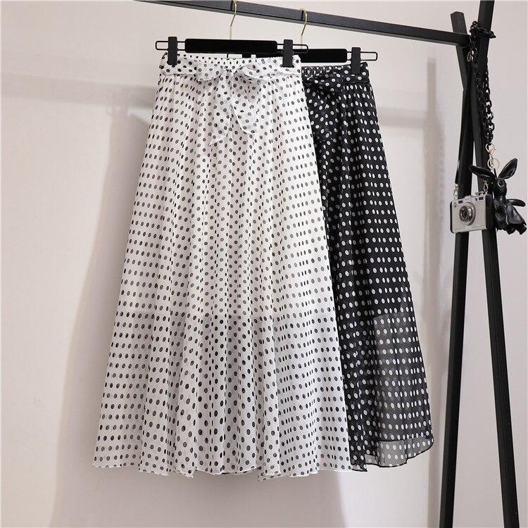 Polka Dot Chiffon Skirt for Women Summer High Waist Ruffled A- line Fresh Floral Mid-Length Skirt
