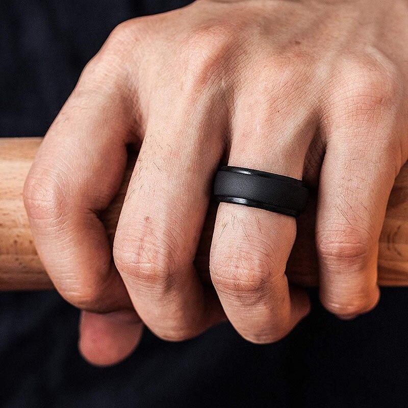 Anillo de silicona Flexible Durable clásico del dedo de la boda para los hombres bandas de goma de la boda al aire libre deportes negro y Camo colores