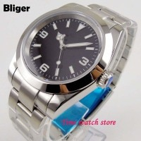 Bliger 40mm Miyota 8215 polished Automatic men's wristwatch sapphire glass black sterile dial luminous hands SS bracelet 156