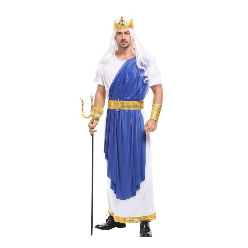 أزياء تنكرية للرجال من Mythology الروماني ، زي آلهة البحر الملك ، نبتون بوسيدون ، الهالوين ، الحفلة ، الكرنفال
