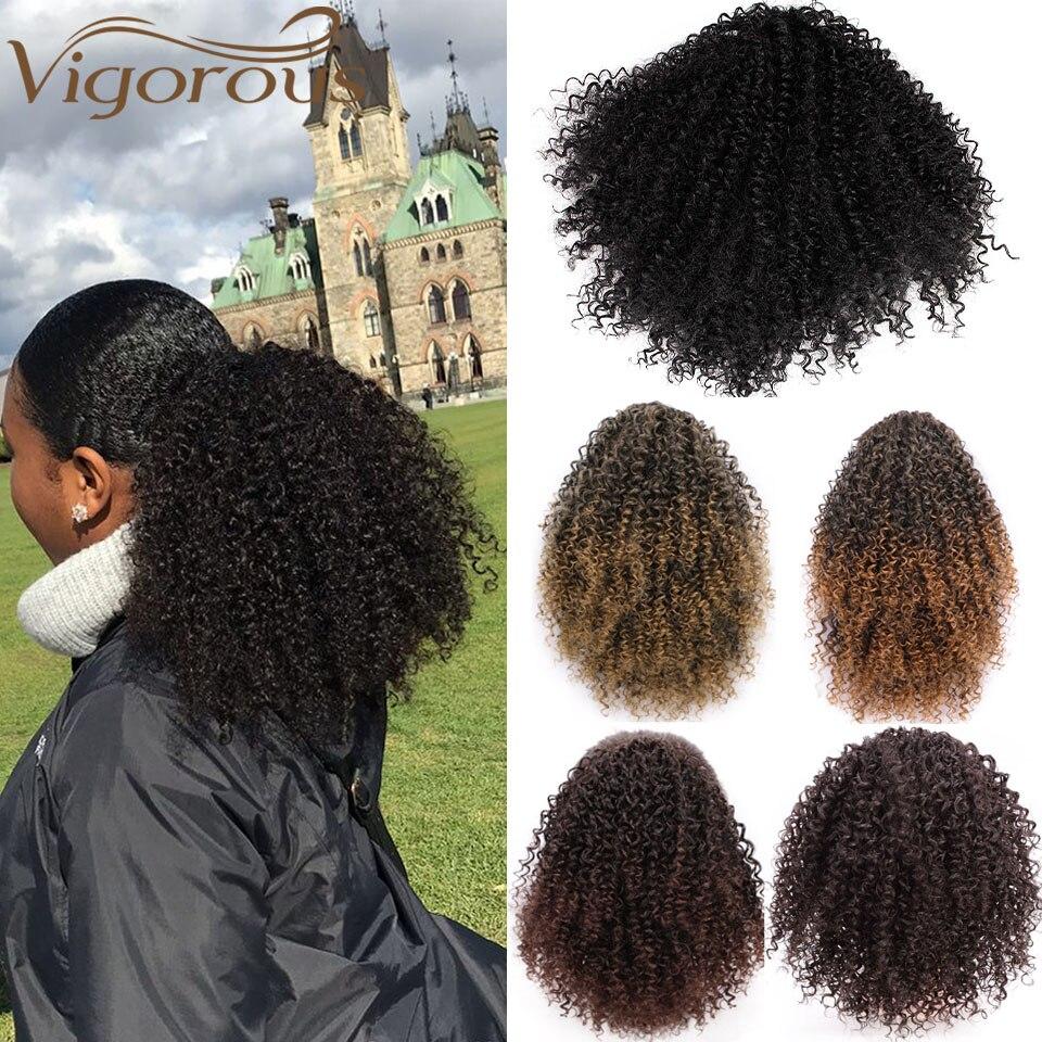 Puffed Afro 8 pulgadas postizo de clip sintético en extensión de cabello Afro Americano