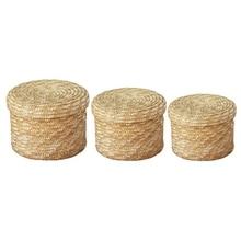 Promotion! 3 pièces/ensemble fait main paille tissé panier de rangement avec couvercle Snack organisateur boîte de rangement paniers à linge rotin stockage Flo