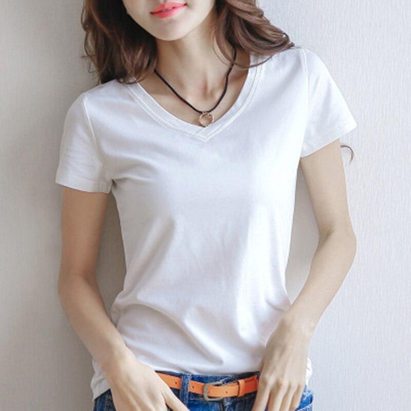 2019 primavera verano Mujer Camiseta de algodón negro con cuello pico de manga corta Camiseta femenina ajustada blanca camiseta Casual sólida camiseta de dama Tops