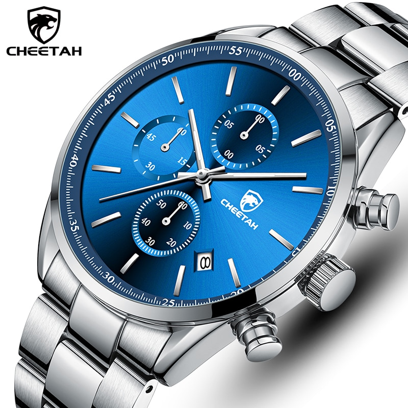 CHEETAH Top Brand 2021 New Men Watch Luxury Stainless Steel Casual Quartz Wristwatch Mens Sport Wate