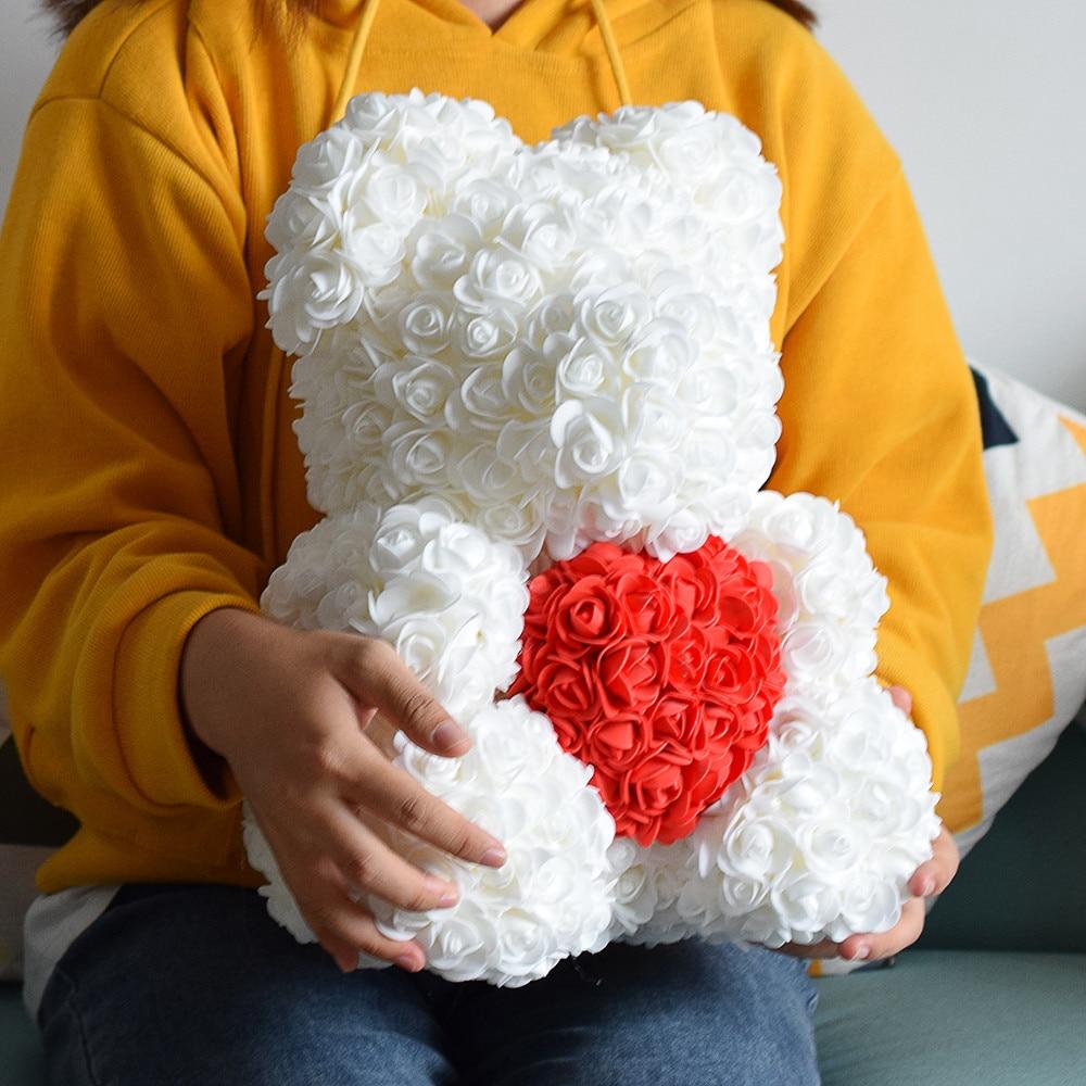 40 سنتيمتر الدب الوردي القلب الزهور الاصطناعية الدب الوردي الأحمر للنساء عيد الحب الزفاف هدية الكريسماس ديكور المنزل