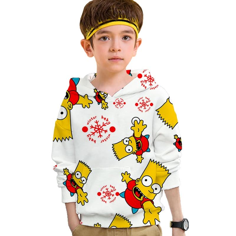 Sudaderas divertidas bart Simpson con capucha para chicas adolescentes Anime Harajuku 3D ropa de bebé pulóver Hip hop casual sudaderas Streetwear Top