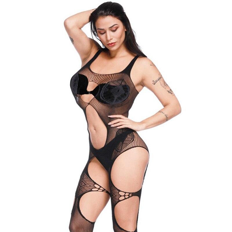 Body de talla grande para chicas, lencería transparente, Sexy, ropa interior con entrepierna abierta, cómodo Body de red, juguete sexual