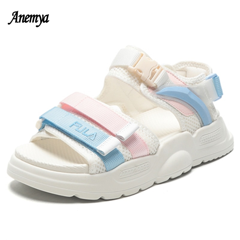 Candy Colors Women's Sandals Platform Summer Open Toe Casual Shoes Woman Comfortable Chunky Thick Sole Outdoor Beach Shoes Black