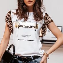 Summer Leopard Letter Print Women T Shirts Streetwear Short Butterfly Sleeve Female Tshirts Fashion Casual Fashion Lady T Shirt