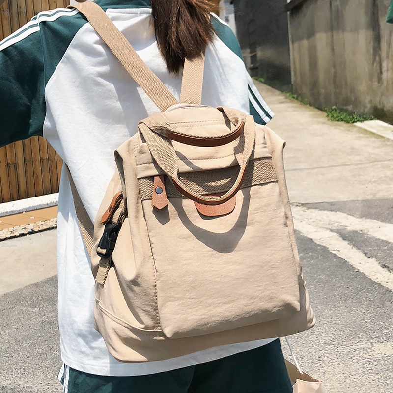 Cute Student Waterproof Backpack Female Women Vintage School Bag Girl ladies Nylon Backpack Long han