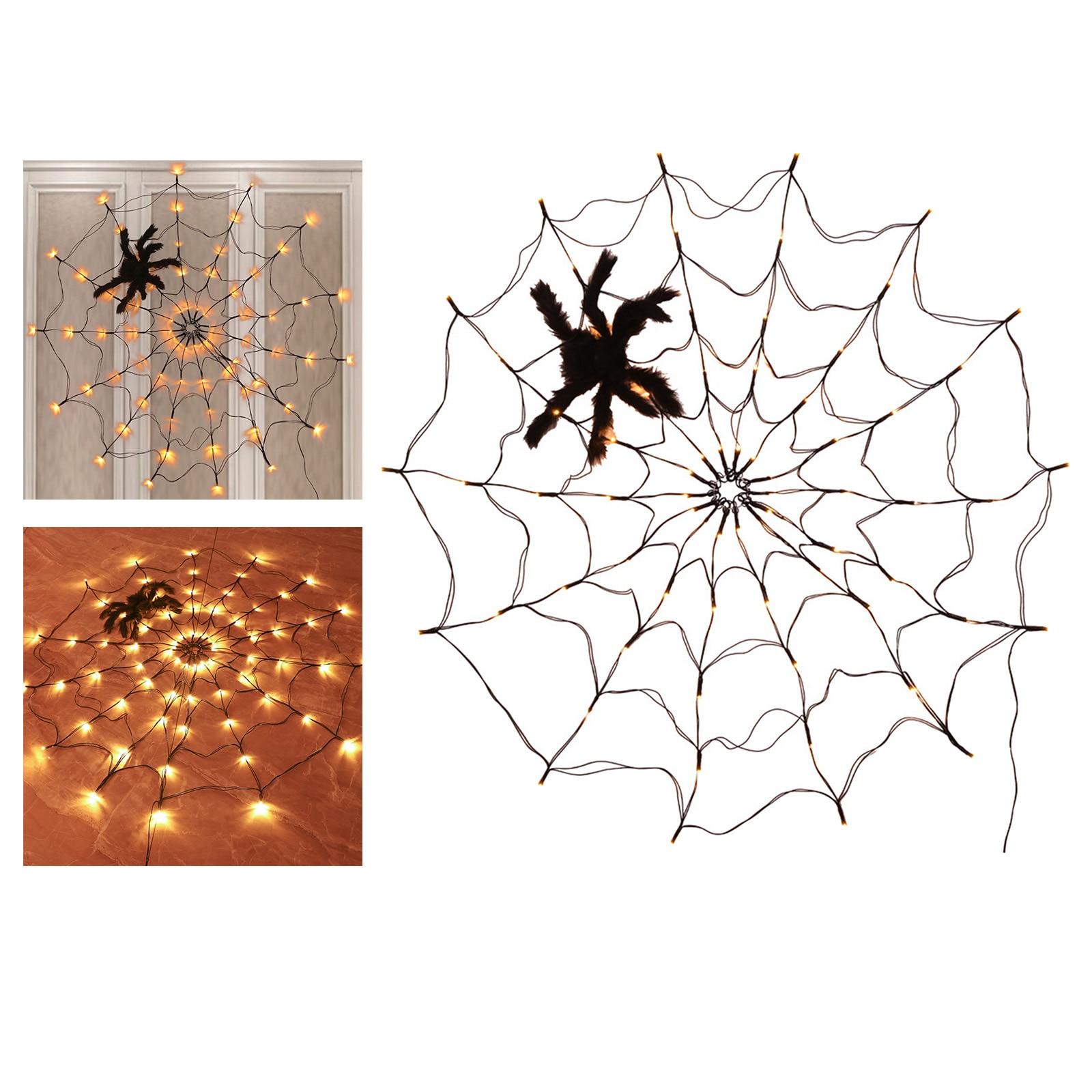 led aranha web luz halloween arvore cerca terracos lampada pendurada quarto sala