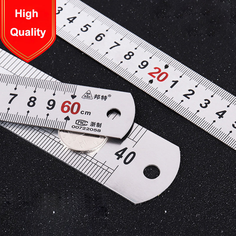 15/20/30/50cm Ruler Construction Tools Measuring Instruments Metric inch Double-sided Scale Steel Plate Ruler Stainless Steel