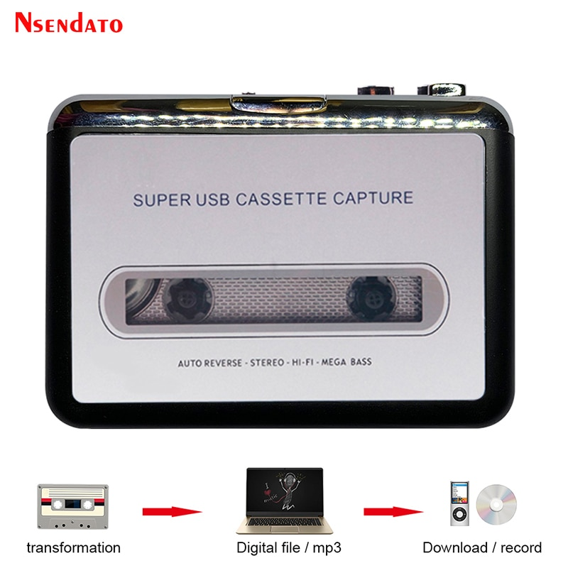 USB Cassette Player Tape to MP3 Converter Capture Adapter Audio Music Player Tape USB Cassette Recor