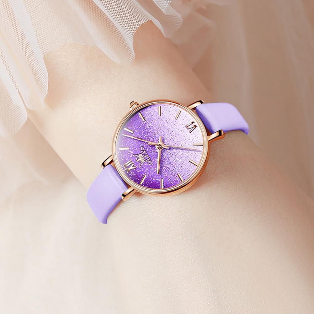 OLEVS Fashion Lady  Watches Gradient Gypsophila Design Personality  Romance Purple/Red/Blue Leather Strap Waterproof  Watch Set
