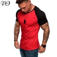 new streetwear stitching casual mens t shirt top jogger fitness mens sportswear round neck short sleeve sweatshirt