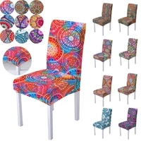 retro bohemian flower printed elastic chair cover high back chair protective cover for home hotel dining seat cover chair decor