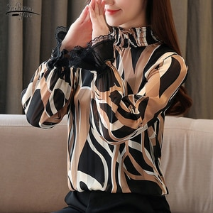 Fashion Long Sleeve Shirt Women Loose Casual Chiffon Office Blouses Women Lace Spliced Print Korean Blouse Women Blusas 11383