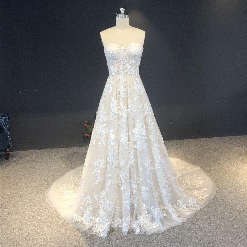 فستان زفاف من الدانتيل بلون الشمبانيا ، بدون حمالات ، خط a ، سحاب ، طول الأرض ، مع قطار ، جودة عالية ، جديد ، 2021