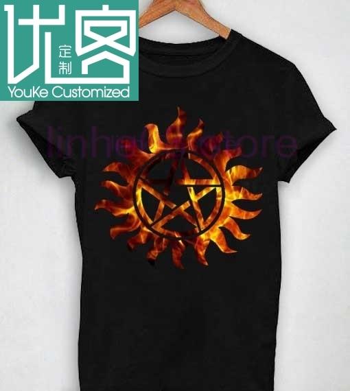 Unisex Premium Logotipo de Supernatural fuego camiseta de flores cuello redondo manga corta Camiseta Top camiseta de moda hombres y mujeres camisetas