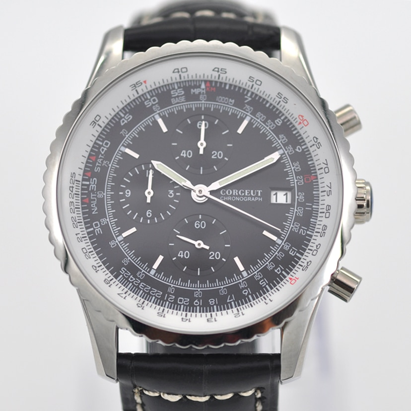 46MM Corgeut relojes para hombre marca de lujo luminoso reloj negro de cuero de los hombres de cronógrafo reloj de cuarzo para hombre reloj de Fecha