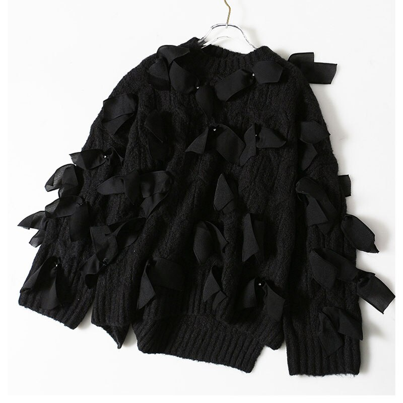 SeeBeautiful Printed Pleated Stitching Loose Sweater O Neck Long Sleeve Contrast Color Simple New Fashion Winter 2021 Women M561 enlarge