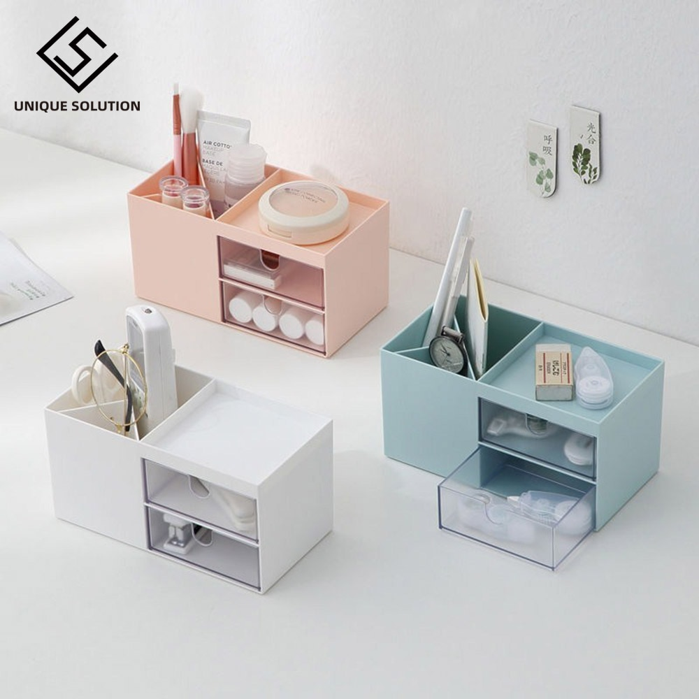 Multi-function Desktop Pen Holder Office School Storage Case Plastic Pen Box Desk Pencil Organizer Clear