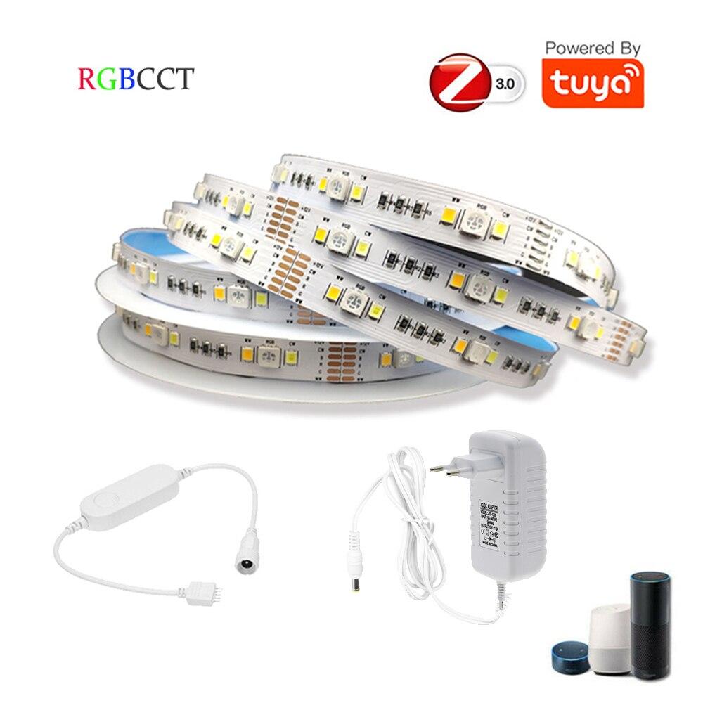 TUYA Zigbee-شريط إضاءة Led RGB CCT 12V 1-5m ، 90 صمام ثنائي/م ، وحدة تحكم صغيرة RGBCW ، مجموعة طاقة ، تحكم صوتي ، HU * E