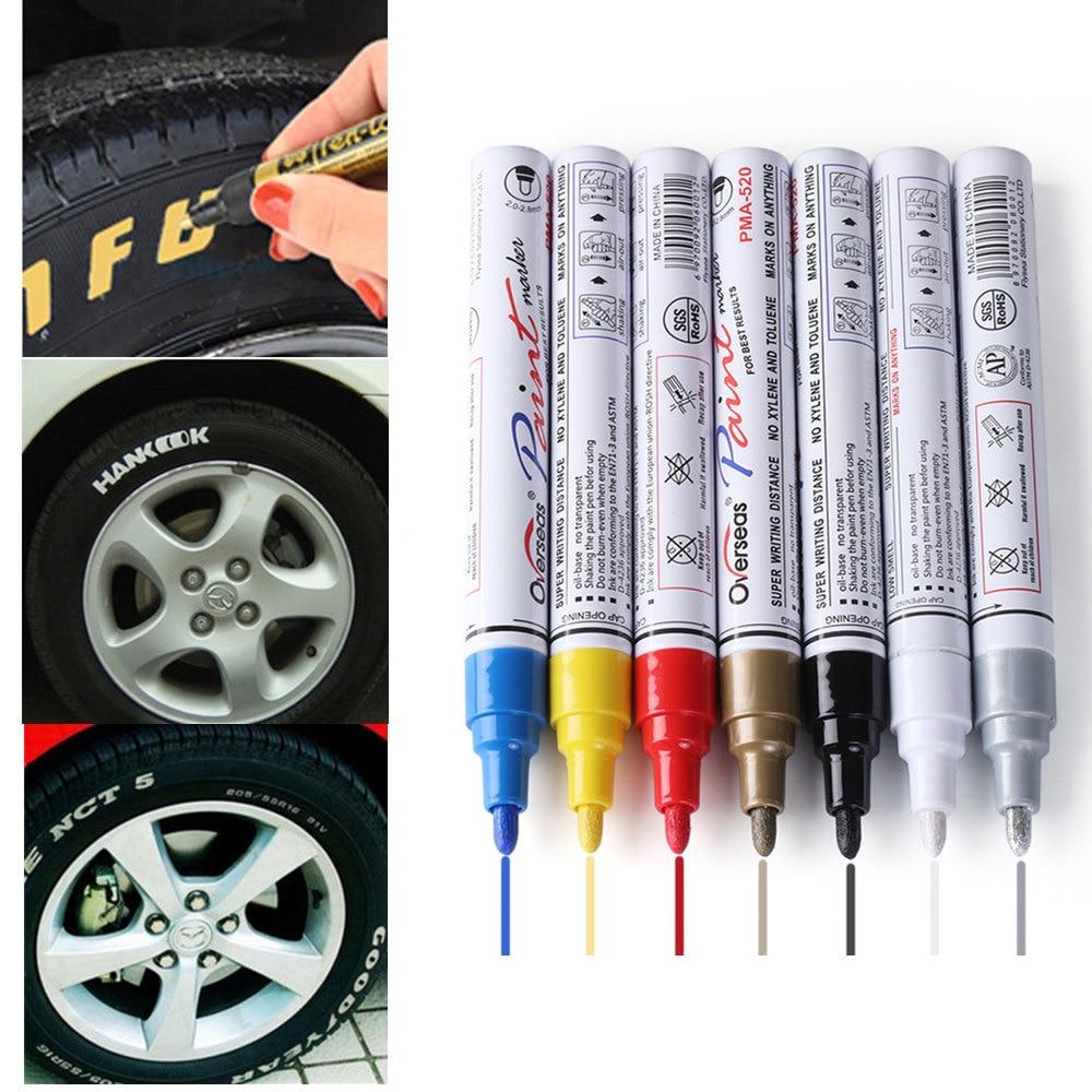 Estilo de coche colorido impermeable bolígrafo neumáticos de coche rodadura CD Metal marcadores de pintura permanentes Graffiti marcador oleoso Pen 7 Uds