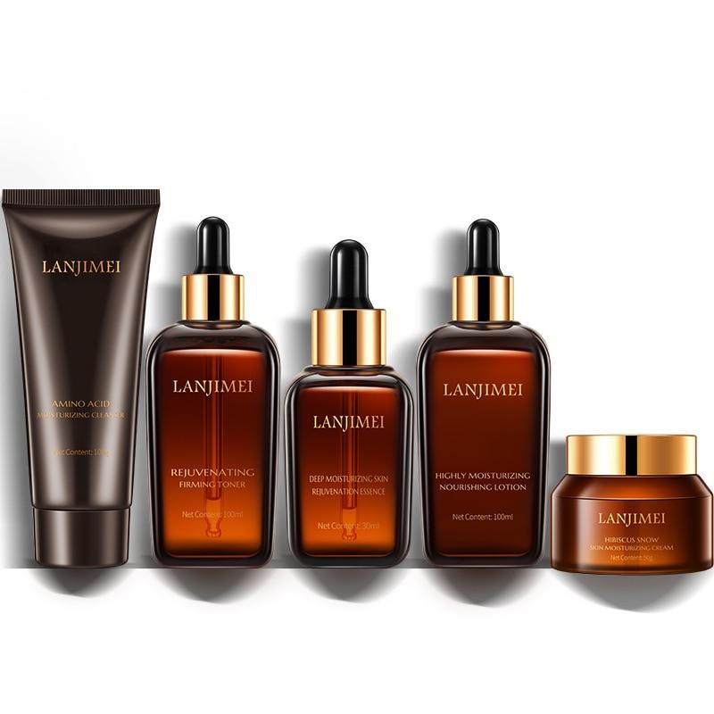 Hibiscus Skin Care Product Set Skin Rejuvenation Moisturizing 5 Pcs/Set Brown Bottle Men Women Moist