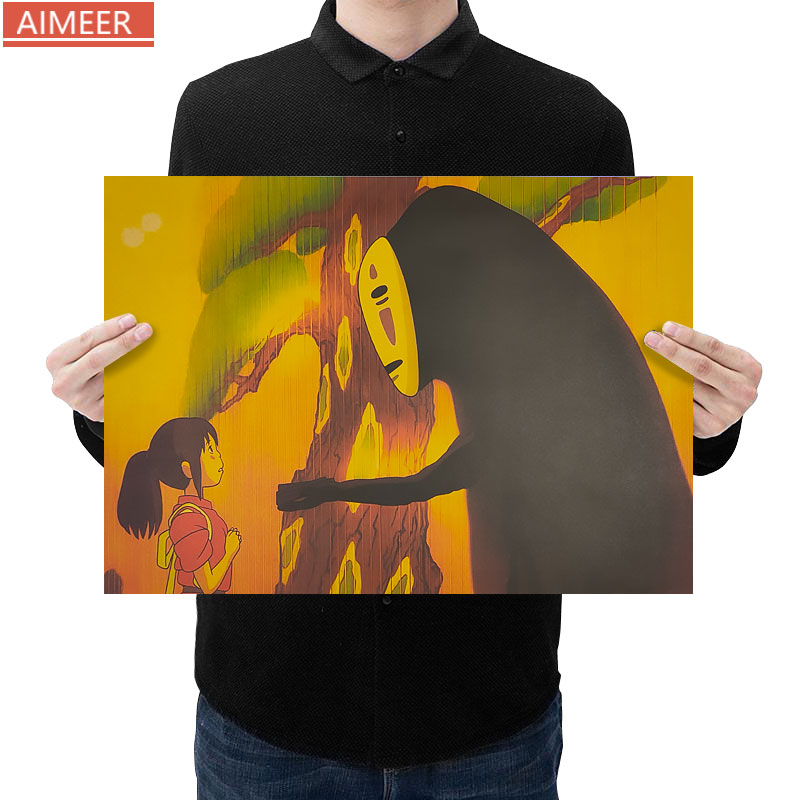 AIMEER Hayao Miyazaki anime Spirited Away K style retro kraft paper posters household items bar cafe kids decorative painting