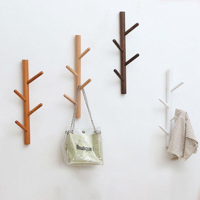 الشمال بسيطة الزان شجرة جدار شنقا خشب متين خطاف تعليق المعاطف تخزين الرف الجدار شنقا شماعة خشبية