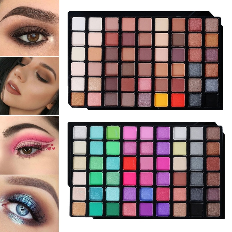 54 cores paleta de sombra de olho fosco brilho pó sombra paleta terra/doces cor shimmer pigmento smoky olhos sombra maquiagem