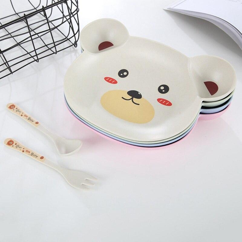 Cute 3 uds bebé recién nacido Animal platos cubertería Set niños alimentos plato de alimentación tenedor cuchara platos