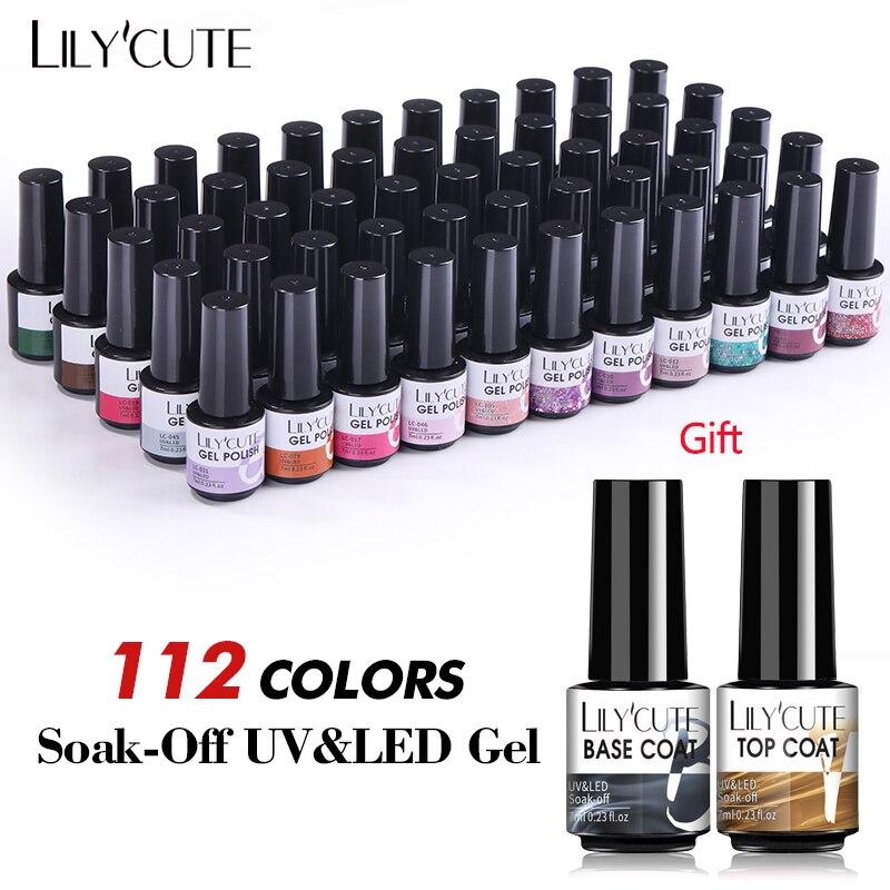 LILYCUTE 112/60/40/20 Colors Gel Nail Polish Set Semi Permanent Hybrid Gel Varnish Set With Base Top Coat Soak Off UV Nail Gel