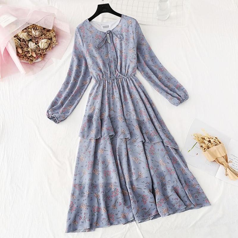 Chiffon Kleid Frauen Blumen Druck Casual Langarm Frühling Sommer unregelmäßigen Rüschen Midi Kleid Oansatz Vintage Hohe Taille Vestido