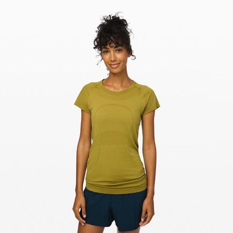 Summer Running Training Women Clothes Seamless Breathable Short Sleeve Gym T-shirts Mesh Slim Hip Length Yoga Shirts Top