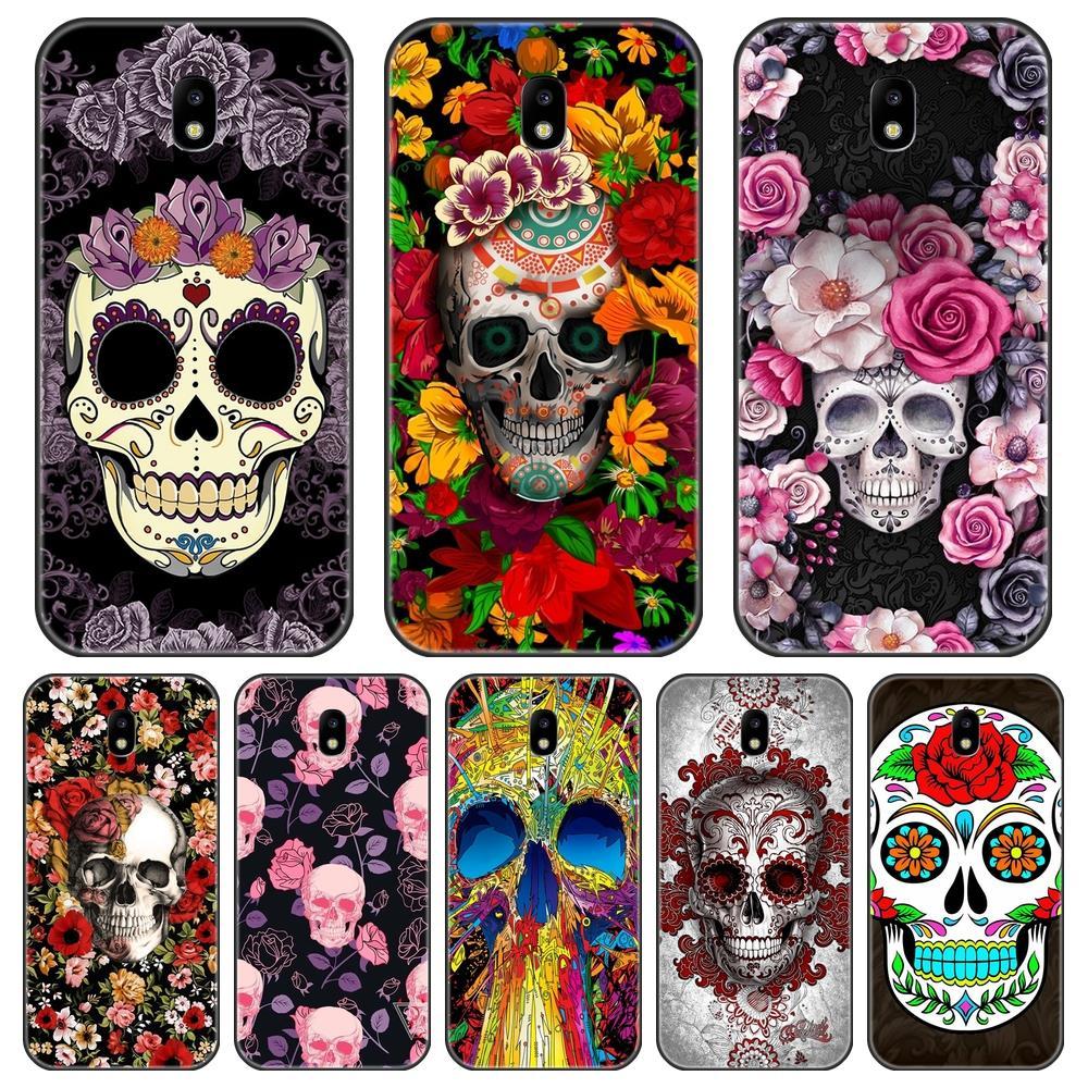 Tampa traseira Para Samsung Galaxy J3 J5 J7 2015 2016 2017 J4 J6 J8 Plus 2018 Silicone Caso de Telefone Crânio para Samsung J2 J5 J7 Prime