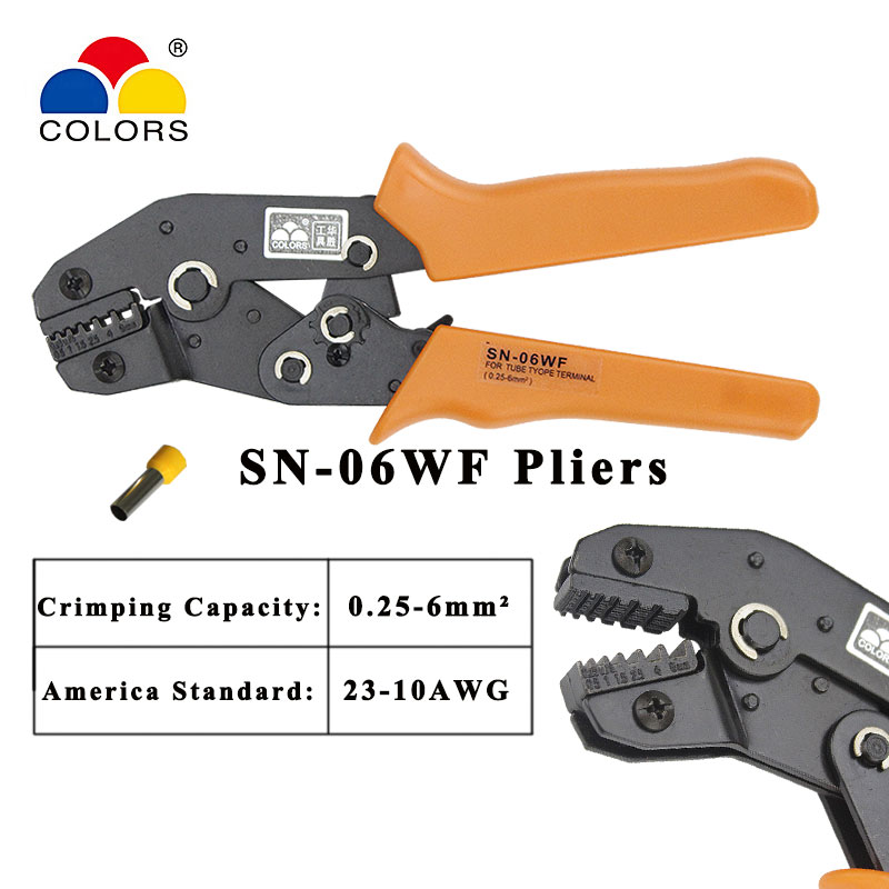 hs 625wfl crimping pliers for insulated non insulated ferrules tube terminals self adjusting 6 25mm2 10 3awg tools Colors Crimping pliers SN 06WF Jaws for Non-insulated terminals and non-insulated ferrules and Tab receptacles Hand tool