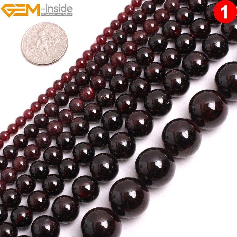 2-14mm piedra redonda natural granate rojo cuentas para la fabricación de joyería hebra 15 pulgadas semipreciosa DIY cuentas collar pulsera regalo