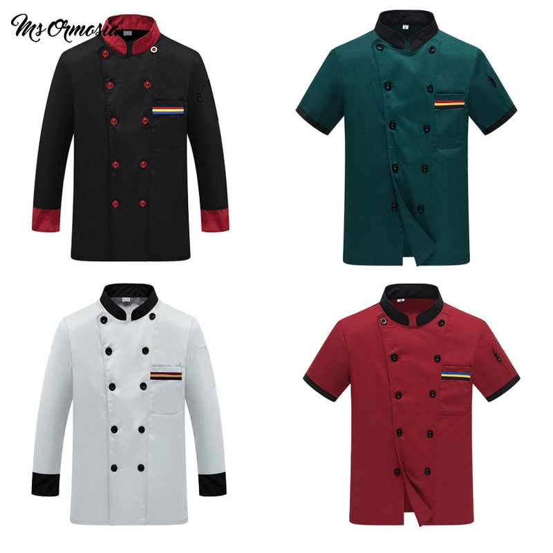 Chef Uniform Costume Breathable Food Service Top Custom Logo Printing Short full Sleeve Restaurant Kitchen Man Shirt Clothing