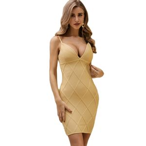 Sexy Backless Strap andage Dress V-neck Celebrity Party Club Vestido Free Shipping