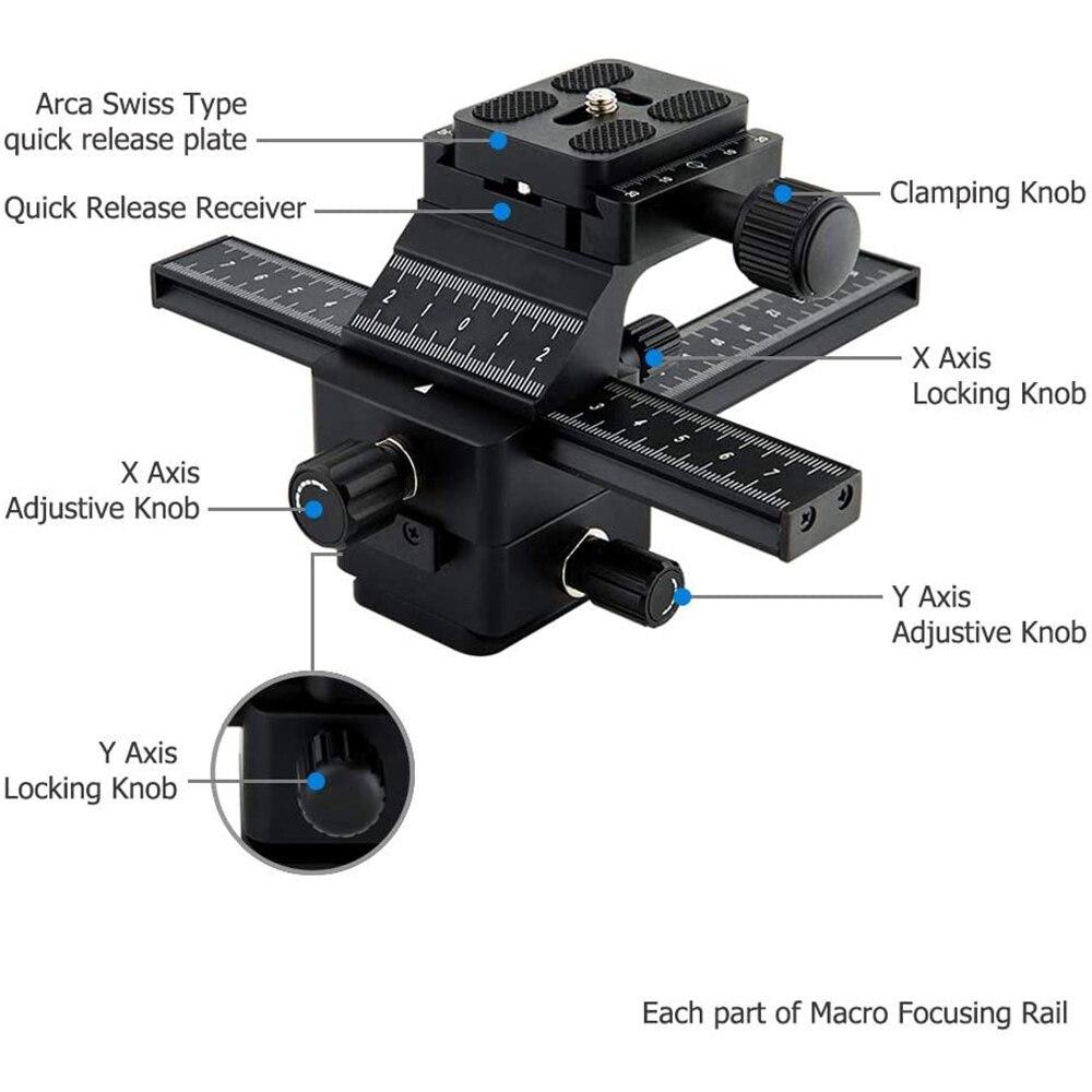 Macro Shot Focusing Focus Rail Slider Profession 4 Way Ajustable Close-up Shooting Anti-shake Fit Tripod 1/4-20 Thread Universal enlarge