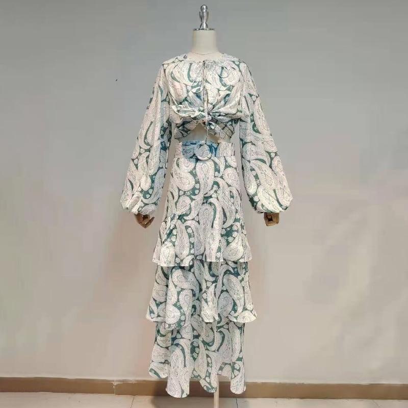 وشاحات ميدي التنانير للنساء س الرقبة فانوس كم طويل قميص عالية الخصر الإناث مجموعات طباعة أنيقة قطعتين مجموعة